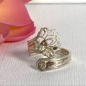 Alex and Ani Peace Petals Lotus Spoon Ring